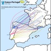 Carte des vols directs entre la France et le Portugal
