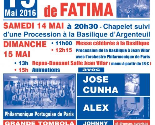 Fête de Notre Dame de FATIMA et DINER-DANSANT à Argenteuil le dimanche 15 mai 2016
