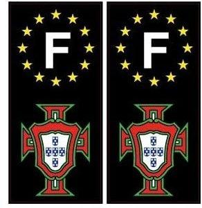 Autocollant plaque immatriculation Portugal FPF et F Europe