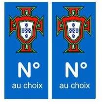 Autocollant bleu plaque immatriculation Portugal FPF et numéro